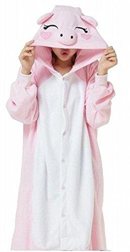 ABYED® Jumpsuit Tier Karton Fasching Halloween Kostüm Sleepsuit Cosplay Fleece-Overall Pyjama Schlafanzug Erwachsene Unisex Lounge,Erwachsene Größe L-für Höhe 167-175CM Rosa (Kostüme Schweine)