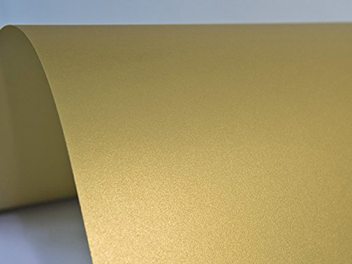 Netuno 10x Blatt Perlmutt-Gold 125g Papier DIN A4 210x297mm, Sirio Pearl Aurum, ideal für Hochzeit, Geburtstag, Taufe, Weihnachten, Einladungen, Diplome, Visitenkarten, Grußkarten, Scrapbooking