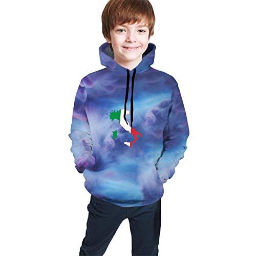 Hidend Kinder Kapuzenpullover Sweatshirt, Italia Italy Italian Flag Logo Sweatshirts Sportswear with Kangaroo Pockets for Teen Girls Boys
