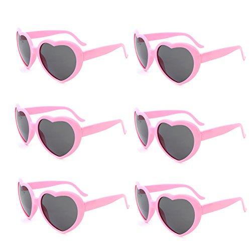 Fsmiling Neon Farben Party Gefälligkeiten Herzform Sonnenbrille für Kinder Erwachsene (6 Pack Pink)
