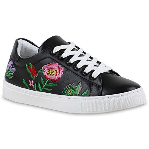 Damen Sneakers Blumen Stickereien Sportschuhe Schnürer Schwarz