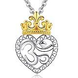 CELESTIA Mujeres Collar con Colgante Corazón y Corona de Plata de Ley 925, OM' Espiritual Collar de Yoga con Cadena, Joyas, Regalos para el Día de la Madre/Cumpleaños, con Caja