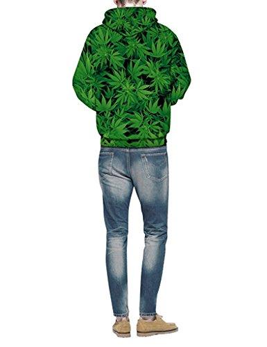 Minetom Donna Uomo Sweatshirt Unisex Coppia Casuale Felpa Con Cappuccio 3D Stampato Maniche Lunghe Hoodies Pullover Leaf