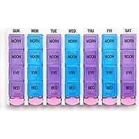 PuTwo Pill Box for 7 Days 28 Compartmetns Pill Organizer with Easy Open Push Button preisvergleich bei billige-tabletten.eu