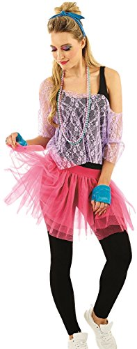 Ladies 80s Lace Costume Set with Accessories