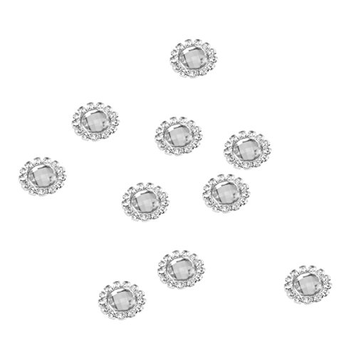 PIXNOR 10pcs Perle Strass à coller (Blanc Argent)