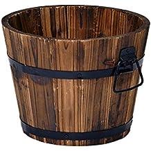 Macetero de madera rústica de barril de whisky, redonda. Jardinera para flores.