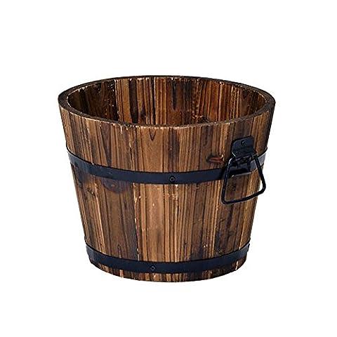 en bois rustique Baril de whisky Jardinière ronde Petit pot de fleurs de jardin en bois