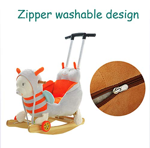 JTYX Bee Children Music Trojan Rocking Horse Baby Rocking Chair Solid Wood Rocking Cradles Birthday Gift JTYX ★ Convenient and practical: The product allows the baby to exercise, grasp, climb, kick, squat, shake, etc., so that the baby can play easily. ★Removable design: The seat cover is detachable, easy to clean, safe in material and does not fade. Made of solid wood and plush, it is more comfortable and safer to sit ★ Heightening base: Scientific anti-rolling, widening and heightening the base to keep the swing amplitude safe. 7