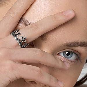 925 Sterling Silber Ring für Frauen Ring Rock Crown Ring antiken König Ring mittelalterlichen Ring gotischen Ring Vintage Ring Königin Ring einzigartigen Ring