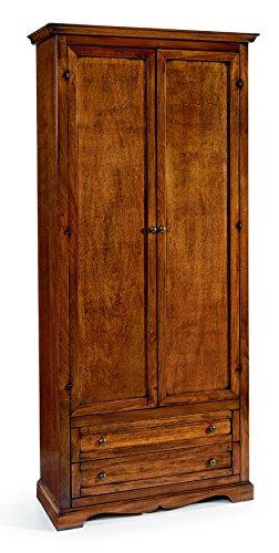 Inhouse srls armadio,arte povera, in legno massello e mdf con rifinitura in noce lucido - mis. 87 x 40 x 192