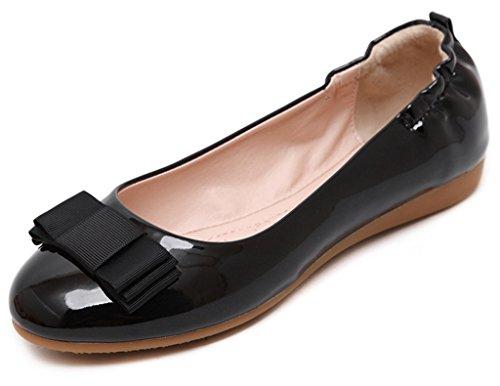 Fortuning's JDS Soft-soled Princesse douce / tête ronde Casual Flat Bean Women Shoes Noir