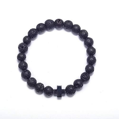 LCSLDW Damen Armband,Vulkanischen Felsen Perlen Armband Elastisch Naturstein Farbe Gold Kreuz Charme Bracelets Für Frauen Schmuck Geschenk -
