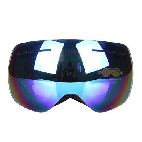 Ropcx Detektor Ski Brille Double UV400 Anti-Nebel Große Ski-Maske Gläser Ski Männer Frauen Snow Snowboard Brille,Blue