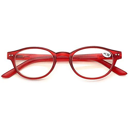 VEVESMUNDO® Lesebrillen Damen Herren Federscharnier Katzenaugen Kunststoff Retro Vintage Lesehilfe Sehhilfe Brille Arbeitsplatzbrille Nerdbrille Hornbrille Vollrandbrille (1 Stück Rot, 3.0)