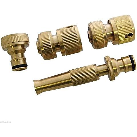 Generic NV _ 1001002137_ yc-uk2ozzlepip connettore rapido Set Nuovo connettore 4pc set in ottone tubo rubinetto Arden da giardino Fitti Ugello 4pc BR
