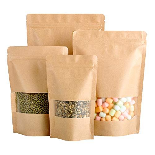 50 bolsas de papel kraft con cierre de cremallera, para bolsas de alimentos, galletas, té, bolsas de sellado reutilizables con ventana transparente para almacenamiento de granos de café 12x20cm