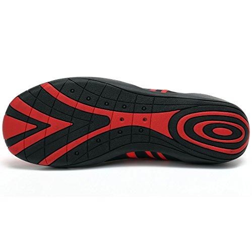 Sixspace Unisex Strandschuhe Aquaschuhe Schwimmschuhe Badeschuhe Wasserschuhe Surfschuhe mit Rutschfeste Sohlen für Damen Herren Kinder Rot