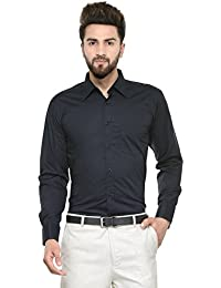 4bea4c3cb0 HANCOCK Black Solid Pure Cotton Double Cuff with Cufflink Regular Fit Formal  Shirt
