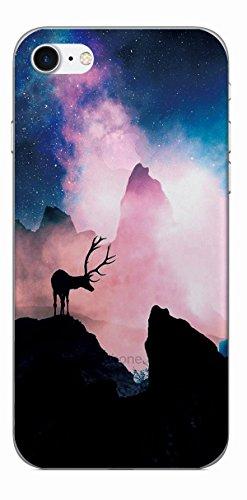 MPPK-Hamburg ® Apple iPhone ® 7 - 4,7 Zoll Schutz Hülle - Case in wunderschönem Design – Stabiles / transparentes PC - Pacific Surfing Wave Hirsch im Gebirge