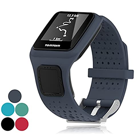 iFeeker Accessoire Remplacement Soft Silicone Gel Bague de montre Bracelet Sport Sangle pour TomTom Runner 1 / MultiSport / Golfer Strap Running Smartwatch (Taille unique)
