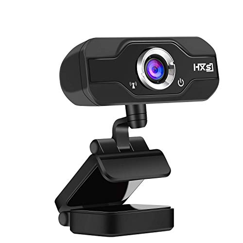 AOGUERBE Webcam HD, PC 720P Webcams USB Caméra Plug et Play 360 degrés avec Microphone Clip-on pour à réduction de Bruit intégré Compatible Skype Youtube Twitter Facebook Windows XP 7 8 10 Noir