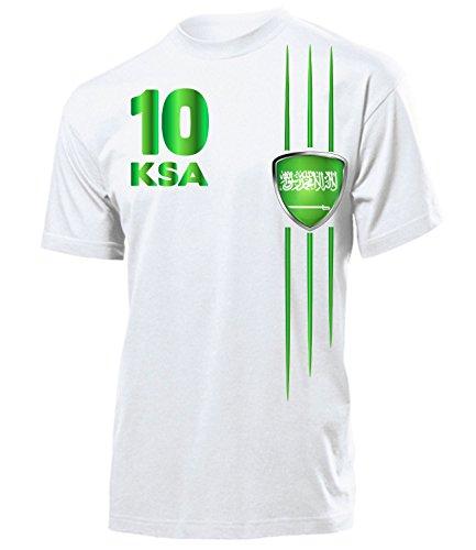 Saudi Arabien Fanshirt Streifen 5841 Fussball Herren Fun-T-Shirts Weiss M