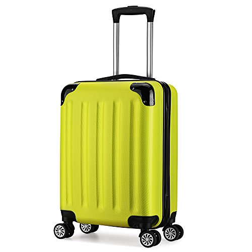 Valise trolley cabine 55cm ABS 4 roues rigide ultra leger 40L(Jaune)
