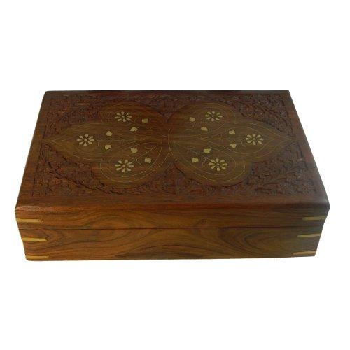 Schmuckkiste Butterfly Messingintarsien 30x20x8cm Holz Box Aufbewahrung Wohnaccessoire