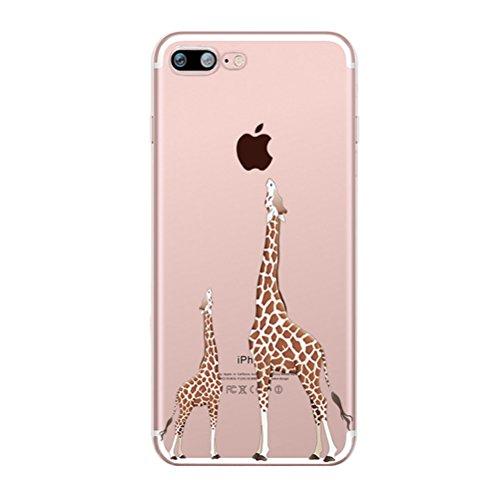 Custodia iPhone 6 Plus/6s Plus [Pellicola Protettiva In Vetro Temperato], Bestsky Cover iPhone 6s Plus Trasparente con Disegni Morbida Gel Silicone Antiurto Bumper Case, Ragazza di farfalla Giraffe