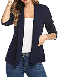 FNKDOR Womens Casual Long Sleeve Turn-Down Collar Blazer Lace Open Front  Suit Jacket cbbccab0a