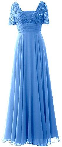 Beyonddress Damen Perlen Abendkleider Lang Ballkleid Brautjungfernkleider Mit Ärmeln Chiffon Cocktailkleid Blau