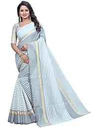 G Stuff Fashion Women Cotton Saree With Blouse Piece_1093_Grey_saree
