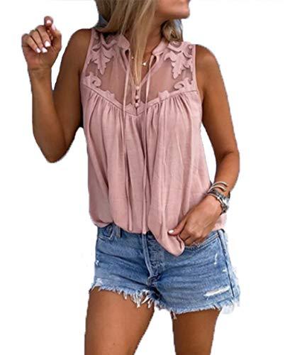 Yutila Damen Sommer Chiffon Bluse Hemd Shirts Tops mit Spitzen