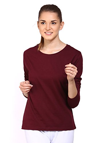 Ap'pulse Women's Long Sleeve Round Neck T Shirt (AP-WM-RN-LONGSLV-242-MAROON-M)  available at amazon for Rs.295