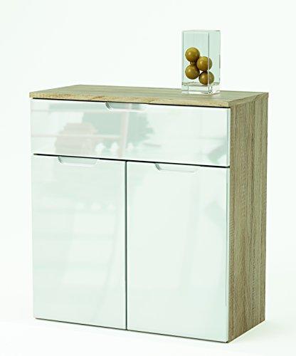 Links - Mountain 7 buffet 2 porte + 1 cassetto. Dim. 73x35,3x79,7h cm. Mdf. Rovere spazzolato + bianco