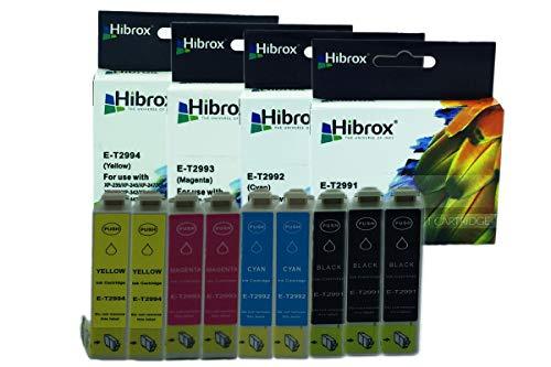 Pack 9Pcs Hibrox Jet d'Encre Compatible Epson 3x T2991 Noire 2x T2992 Cyan 2x T2993 Magenta 2x T2994 Jaune pour Epson EXPRESSION HOME XP 235 245 247 332 335 342 345432 435 442 XP 235 245 247 332