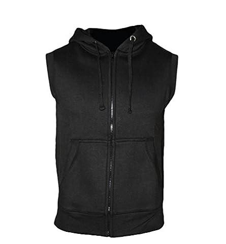 Zipped Hoodie ärmellos für Herren - Sleeveless Fitness Kapuzenpullover Sweater schwarz - Trainingsweste Sweatshirt Tank Top von ROCK-IT Small