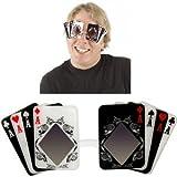Elope - S22401 Accessori, Occhiali a Forma di Carte da Poker
