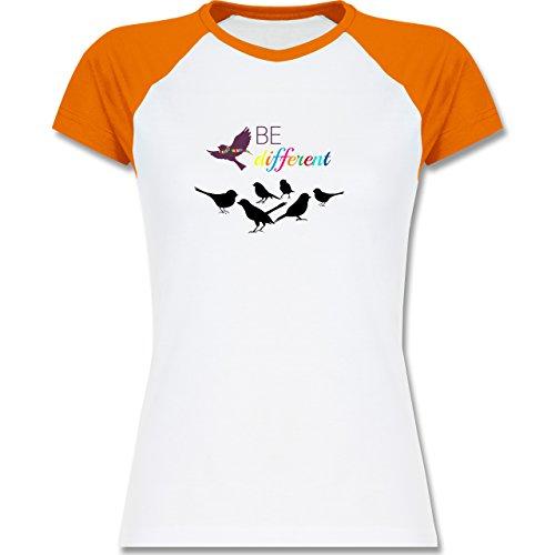 Shirtracer Statement Shirts - Be Different - Zweifarbiges Baseballshirt/Raglan T-Shirt für Damen Weiß/Orange