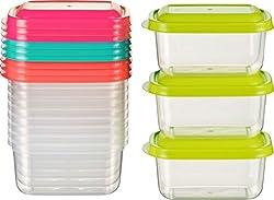 Kigima Mini-Tiefkühldose Frischhaltedose 250ml rechteckig 12er Set bunt