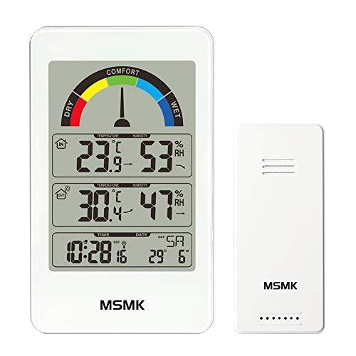 MSMK MK3356W Wetterstation Funkwecker mit Außensensor/Innen-/Außentemperatur und Luftfeuchtigkeit/Innen-Komfort-Display/Kalender / Uhr with Thermometer (Weiß) -