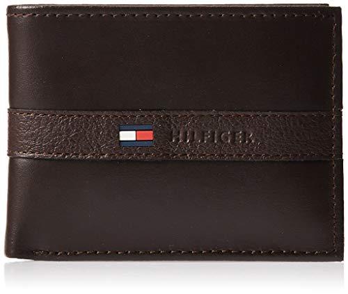 Tommy Hilfiger - Billetera para hombre con 6 bolsillos para tarjetas de crédito y ventana extraíble Marrón marrón oscuro Talla única