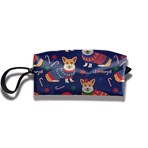 Christmas Pattern Corgis Print Elegant Cosmetic Pouch Bag Cute Toiletry Purse Travel Cosmetic Bag Pouch with Zipper -