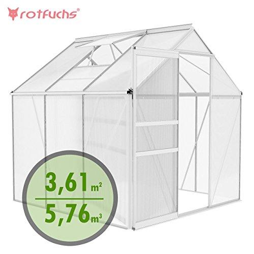 Rotfuchs® Aluminium Gewächshaus Treibhaus Frühbeet Gartenhaus Tomatenhaus Pflanzenhaus 5,76 m³ - 1,90m x 1,90m Dachplatten 6 mm Fundament optional