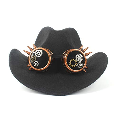 Beck Orlando Wollfilz Cowboyhut Volltonfarbe Retro Steampunk Gear Brille Western Denim Party Hut Mode Pork Pie Hut (Farbe : Schwarz, Größe : 56-59cm)
