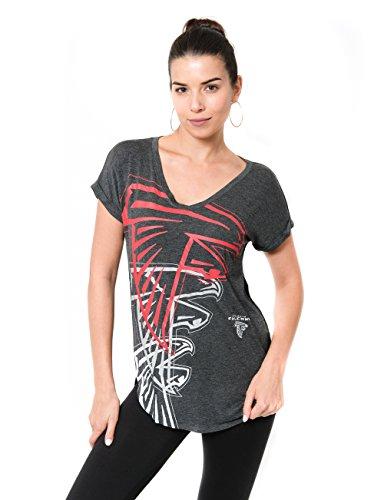 ICER Brands Damen T-Shirt NFL V-Ausschnitt Soft Modal Tee Shirt Team Color, Damen, Jersey T-Shirt Mesh Varsity Stripe Tee Shirt, Team Color, grau, Large - Af-frauen-shirt
