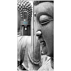 Vinilo Frigorífico Americano Budas | 91x179cm | Varias Medidas | Pegatinas de Nevera Económicas y Elegantes | Vinilo Nevera