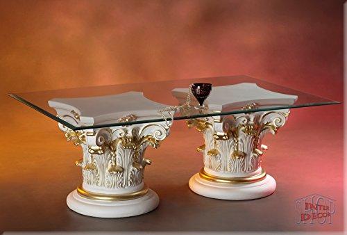 InterDecorShop Griechisch Designer Couchtisch Wohnzimmertisch Tisch Glastisch Säule Antik