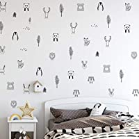 Animal Wall Stickers for Kids Bedrooms, Nursery, Baby Room, Play Room, Kids Room - Stylish Safari, Woodland Animal, Jungle, Tree Wall Stickers for Baby Nursery. Black and White Bedroom Stickers